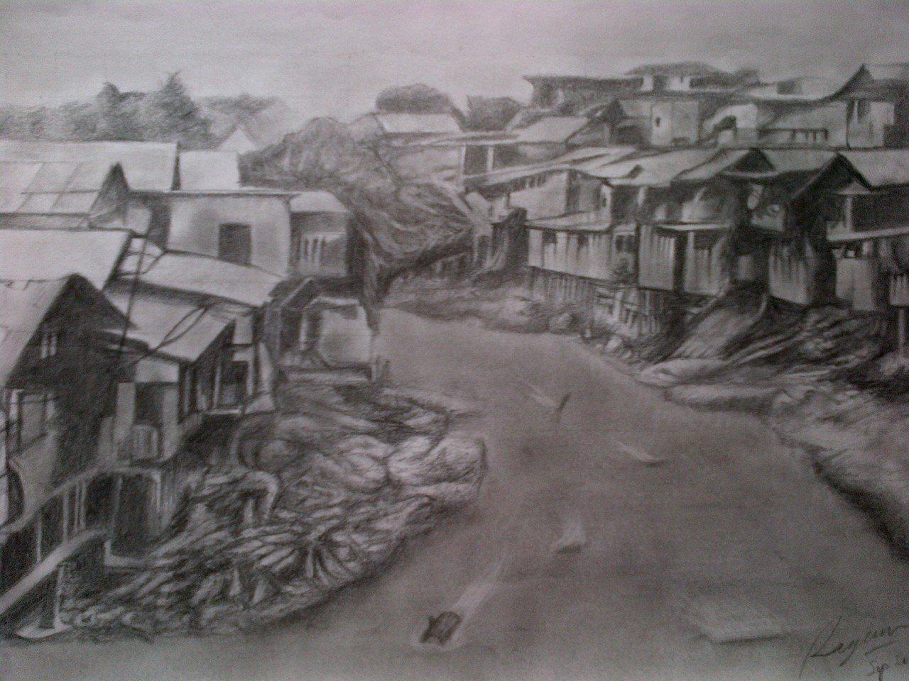 "Lukisan Pensil dengan judul ""BANTARAN KALI CILIWUNG"" - kaskus"